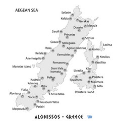 island of alonissos in greece white map vector image vector image