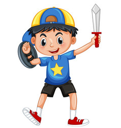 little boy with armour and sword vector image vector image