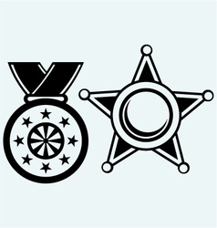 Sheriff badge and medal with ribbon vector image