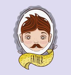 Father inside of emblem decoration design vector