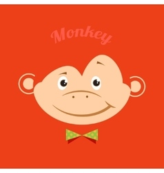Flat funny monkey with a green butterfly on an vector image