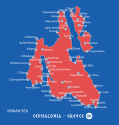 island of cephalonia in greece red map vector image
