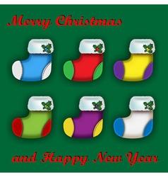 Set of colorful Christmas socks vector image vector image