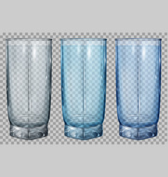 three transparent glasses for water or juice vector image vector image