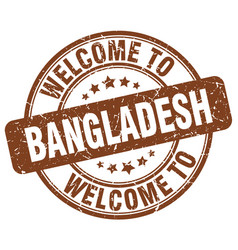 welcome to bangladesh brown round vintage stamp vector image