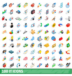 100 it icons set isometric 3d style vector image vector image