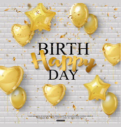 Birthday background with golden balloons and vector