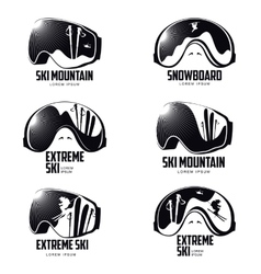 Black and white graphic mountain skier goggles vector