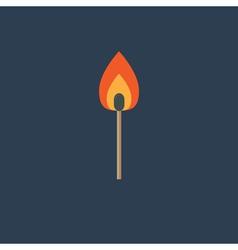 Burning match with orange fire light Flat design s vector image vector image