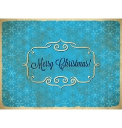Aged Christmas vintage frame with snowflakes vector image vector image
