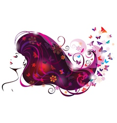 beautiful woman and butterflies vector image