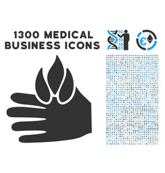 burn hand icon with 1300 medical business icons vector image vector image