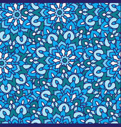 seamless pattern with round flower mandala vector image vector image