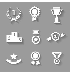 Set of white award success and victory vector image