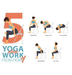 5 yoga poses for work from home concept vector