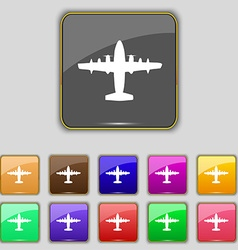 aircraft icon sign Set with eleven colored buttons vector image