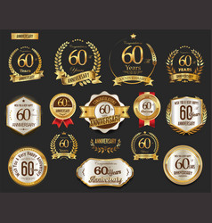 Anniversary golden laurel wreath and badges 60 vector