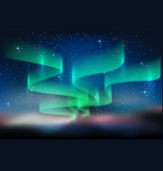Aurora and a lot stars on starry blue sky vector