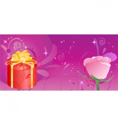 banner with gift and rose vector image
