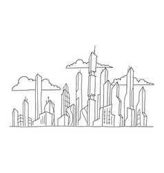 Big future city skyscraper sketch high-rise vector