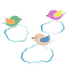 birds on clouds vector image
