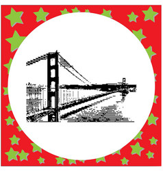 black 8-bit golden gate bridge in san francisco vector image