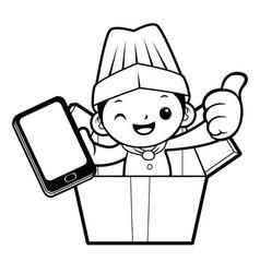 Black and white head chef mascot is in big box vector
