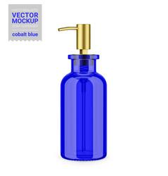 Blue glass soap dispenser bottle mockup template vector