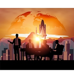Business meeting with Space Shuttle vector image