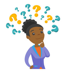 Business woman thinking under question marks vector