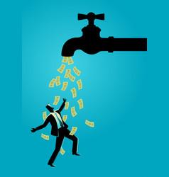 Businessman standing under water tap flows vector