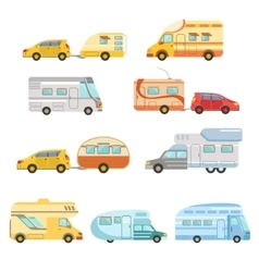 Camper vans with trailers collection vector