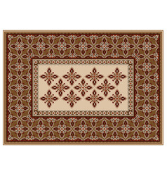 Carpet with ornament in brown and beige shades vector