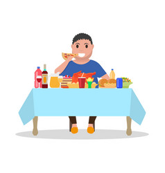 cartoon fat man at the table vector image vector image