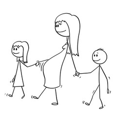 cartoon pregnant woman or mom walking together vector image