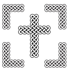 Celtic style endless curved knot cross symbols vector