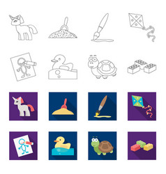 Children toy outlineflet icons in set collection vector