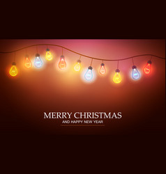 christmas garland with light lamp vector image