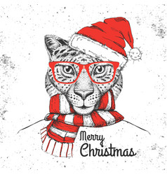 Christmas hipster fashion animal cheetah vector
