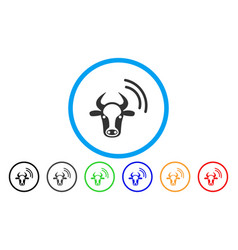 Cow radio signal rounded icon vector