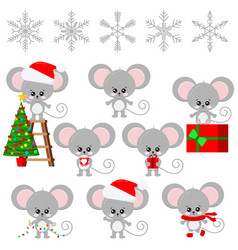Cute mouse new year symbol sweet and funny vector