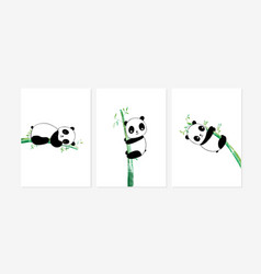 cute posters with sweet pandas prints vector image