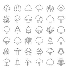cute simple tree and plant icon outline design vector image