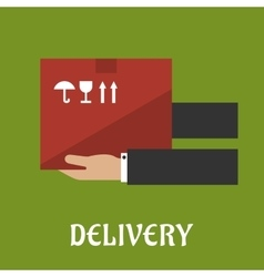 Delivery concept design with hands and box vector image