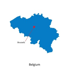 Detailed map of Belgium and capital city Brussels vector image