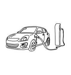 electric car and charging station vector image