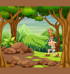 Explorer man with monkey in forest vector