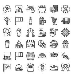 feast saint patrick set line icon vector image