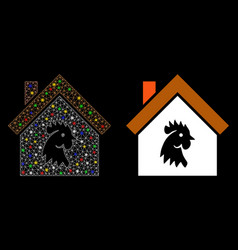 Flare mesh network cock house icon with vector
