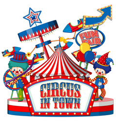 Font design for word circus in town with clowns vector